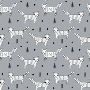Fox scandinavian christmas woodland animal fabric grey white