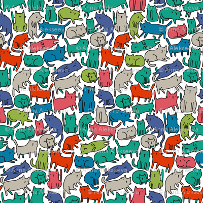 Sketchy cats pattern 2 BIG. Kitties design.