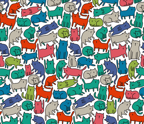 Sketchy cats pattern 2 BIG. Kitties design. fabric by kostolom3000 on Spoonflower - custom fabric