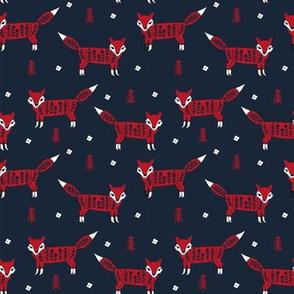 Fox scandinavian christmas woodland animal fabric navy