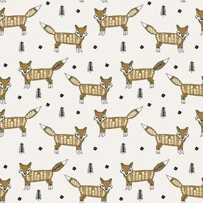 Fox scandinavian christmas woodland animal fabric neutral