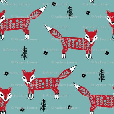 Fox scandinavian christmas woodland animal fabric turquoise