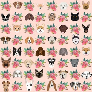 Dogs and Cats heads florals pet lover fabric pattern blush pink