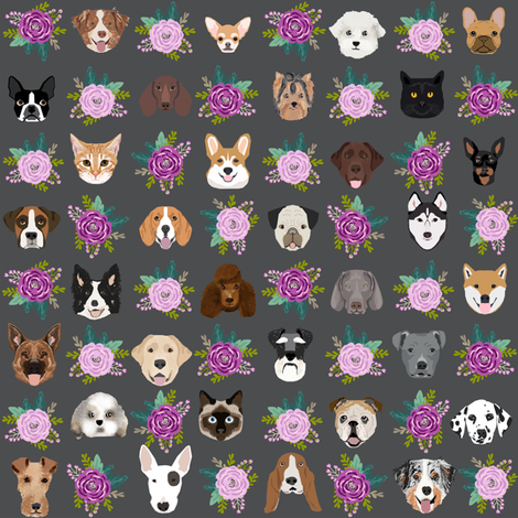 Dogs and Cats heads florals pet lover fabric pattern charcoal fabric by petfriendly on Spoonflower - custom fabric