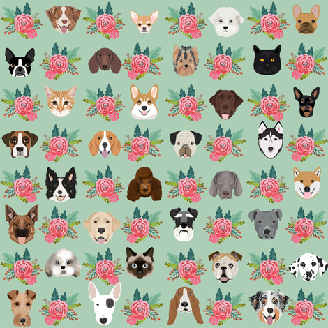 Dogs and Cats heads florals pet lover fabric pattern mint and pink fabric by petfriendly on Spoonflower - custom fabric