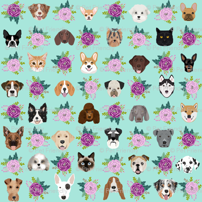 Dogs and Cats heads florals pet lover fabric pattern mint