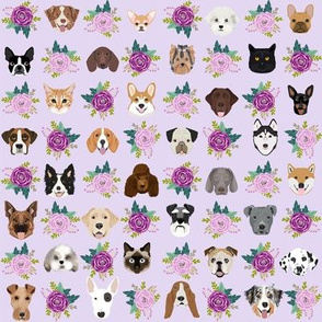 Dogs and Cats heads florals pet lover fabric pattern purple