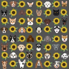 Dogs and Cats heads sunflower florals pet lover fabric pattern grey