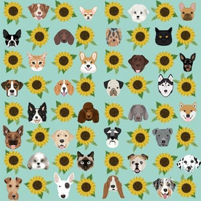 Dogs and Cats heads sunflower florals pet lover fabric pattern light mint