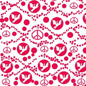 Doves and Red Berries Kitchen Towel