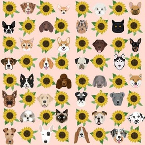 Dogs and Cats heads sunflower florals pet lover fabric pattern light