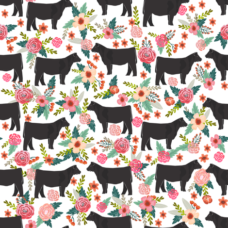 Show Steer cattle farm sanctuary florals animal fabric pattern white fabric by petfriendly on Spoonflower - custom fabric