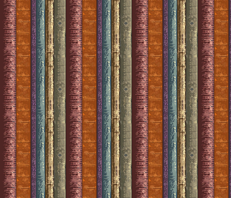 Book Spines Stripe fabric by engravogirl on Spoonflower - custom fabric