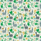 Llamas in the Desert green/gray (mini)