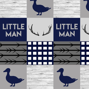 Navy and gray ducks and bucks wholecloth
