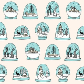 Snow globe winter christmas ornaments fabric pattern champagne