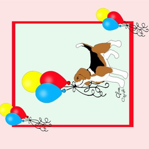 Sleepytown Beagle with Balloons