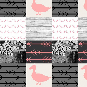 Pink ducks and bucks woodland wholecloth