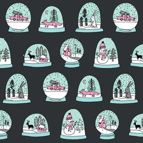 Snow globe winter christmas ornaments fabric pattern charcoal pink