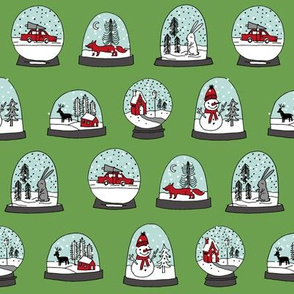 Snow globe winter christmas ornaments fabric pattern green red