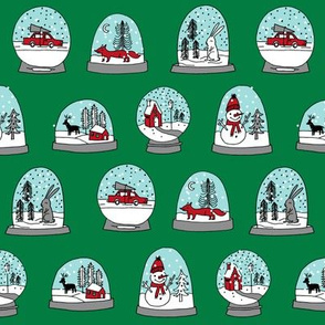 Snow globe winter christmas ornaments fabric pattern green