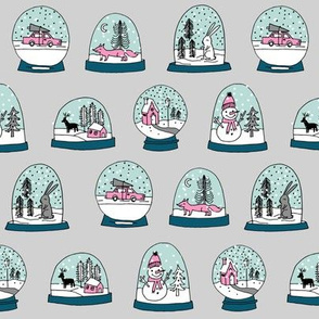 Snow globe winter christmas ornaments fabric pattern grey pink