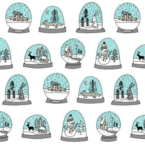 Snow globe winter christmas ornaments fabric pattern lite