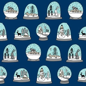 Snow globe winter christmas ornaments fabric pattern navy
