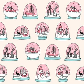 Snow globe winter christmas ornaments fabric pattern pink