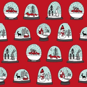 Snow globe winter christmas ornaments fabric pattern red