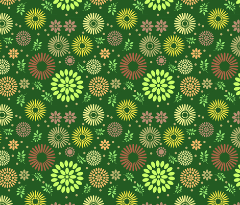 Retro Botanical // Green fabric by thinlinetextiles on Spoonflower - custom fabric