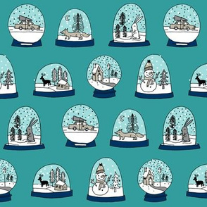 Snow globe winter christmas ornaments fabric pattern turquoise 2