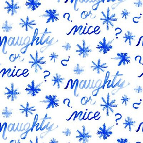Christmas Blue Naughty or Nice white watercolor _ Miss Chiff Designs