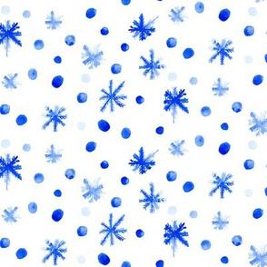 Watercolor spots stars drops blue white || Winter snow indigo sky _ Miss Chiff Designs
