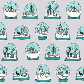 Snow globe winter christmas ornaments fabric pattern turquoise