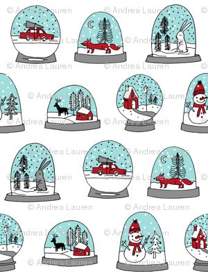 Snow globe winter christmas ornaments fabric pattern white