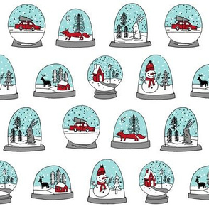 Snow globe winter christmas ornaments fabric pattern white