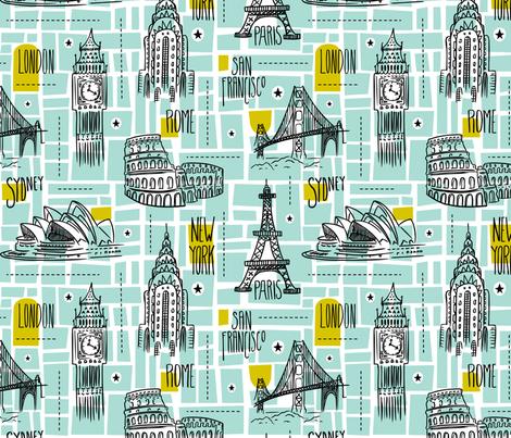 Globetrotter - Travel Map Aqua fabric by heatherdutton on Spoonflower - custom fabric