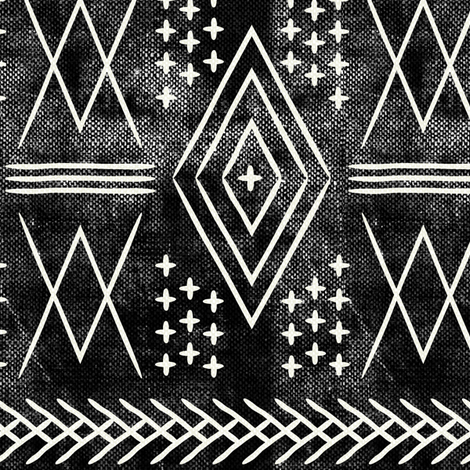 vintage moroccan (med scale) on black fabric by littlearrowdesign on Spoonflower - custom fabric
