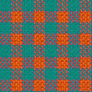 Teal and Fiery Orange Gingham Plaid