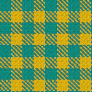 Teal and Golden Yellow Gingham Plaid