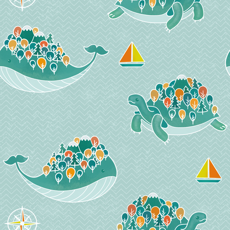 Whaleshire and Turtleland fabric by elena_naylor on Spoonflower - custom fabric