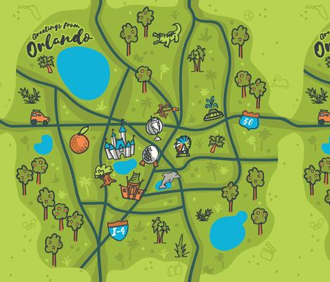 Orlando Illustrated Sketchbook Map fabric by justdani on Spoonflower - custom fabric