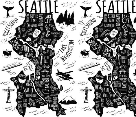 Seattle Illustrated Map in Black and White fabric by elliottdesignfactory on Spoonflower - custom fabric
