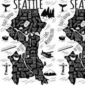 Seattle Illustrated Map in Black and White