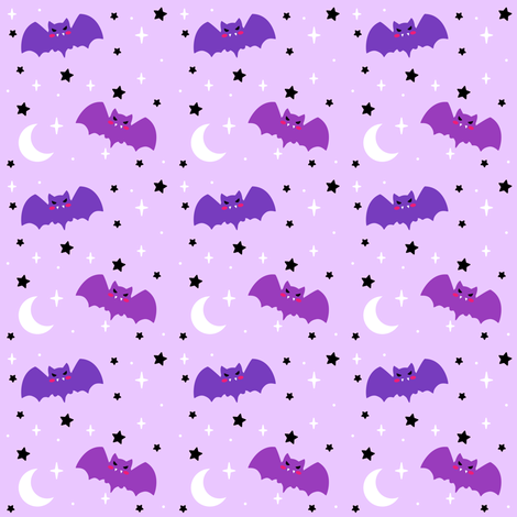 Halloween Cutie Bats - Lavender fabric by magic_circle on Spoonflower - custom fabric