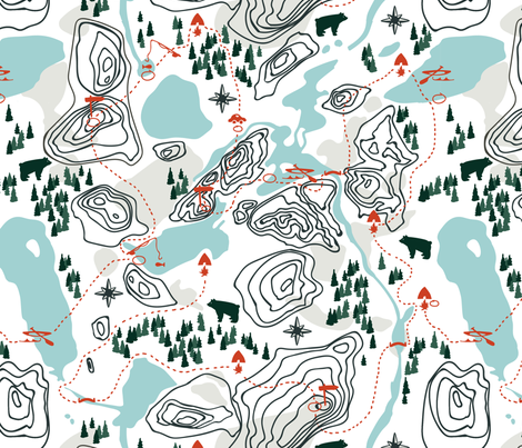 Camping Map fabric by lburleighdesigns on Spoonflower - custom fabric