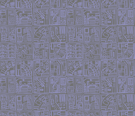 Space station sketchbook squares in periwinkle fabric for Space station fabric
