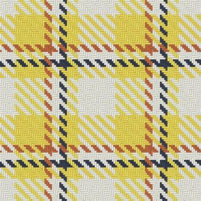Yellow Buff and Navy Bayeux Palette Asymmetric Plaid