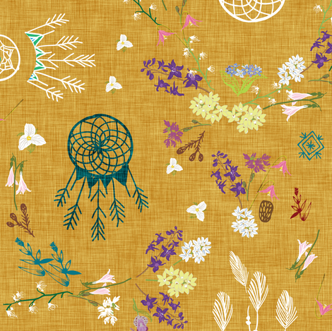 Wildflower dreams (mustard linen) fabric by nouveau_bohemian on Spoonflower - custom fabric